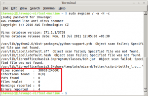 AVG Anti-Virus Scan Results In Linux