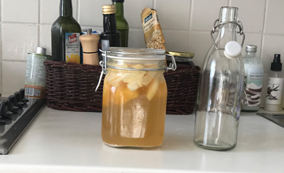 water kefir fermenting in my kitchen