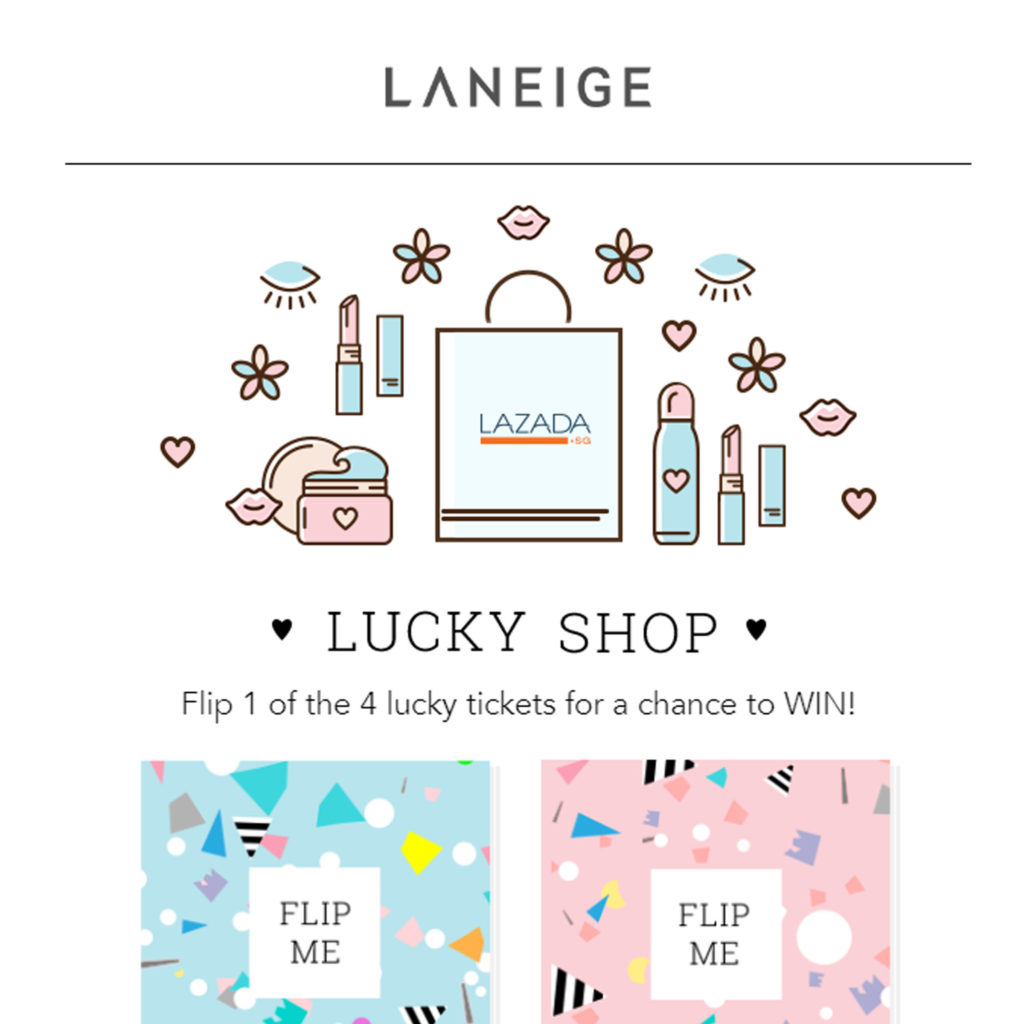Screen grab of the Facebook App for Laneige Lucky Shop - App Development