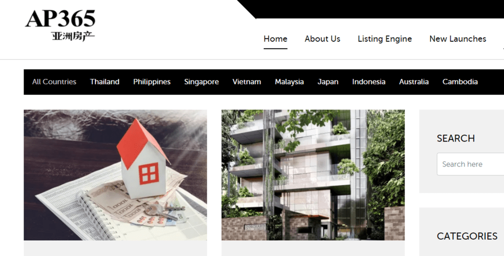 Screen grab of the Asia Property Website Homepage featured - Web Design & Development