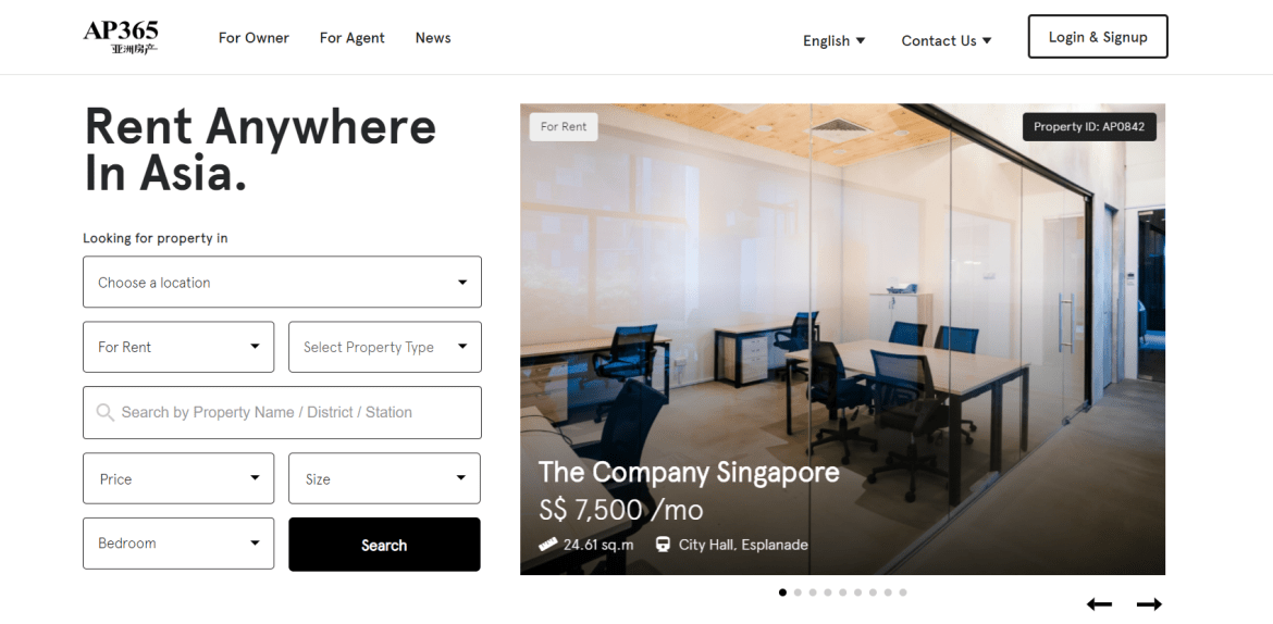Screen grab of the Asia Property property listing homepage - Web Design & Development