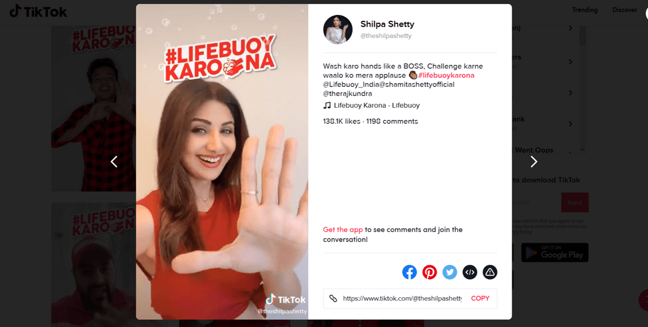Shilpa Shetty joins the #LifebuoyKarona Hashtag Challenge on TikTok | Photo credit: www.tiktok.com