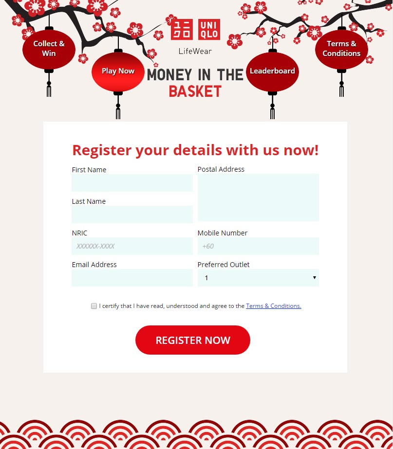 Screen grab of the Facebook App for UNIQLO Money in the Basket - App Development