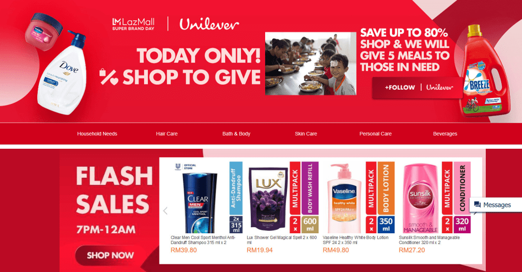 Screengrab of the Unilever x Lazada Super Brand Day