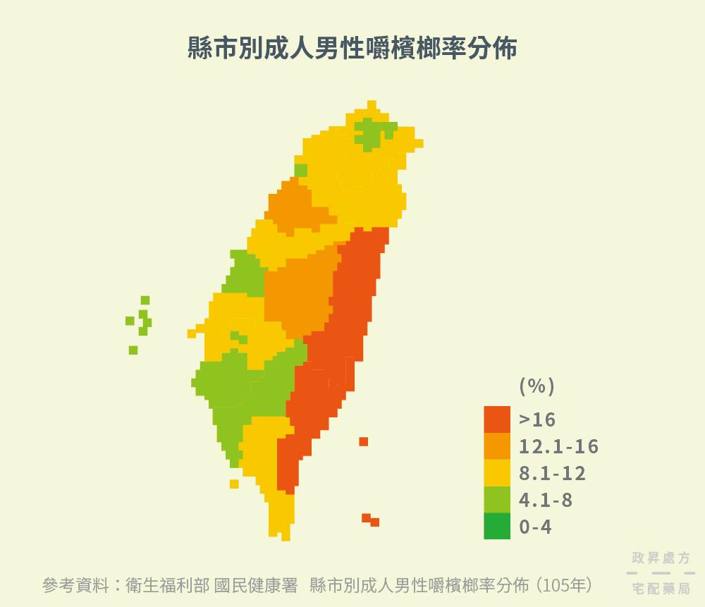 台灣縣市嚼檳榔率的分布情況