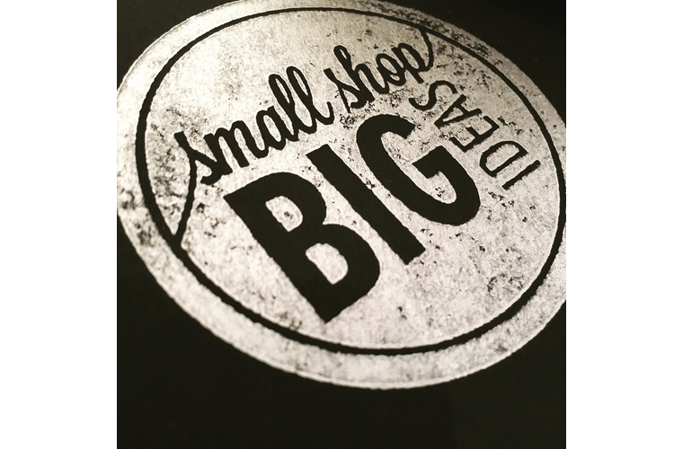 photo of a stamp that reads small shop big ideas