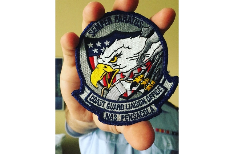 coast guard patch close up with an eagle and semper paratus