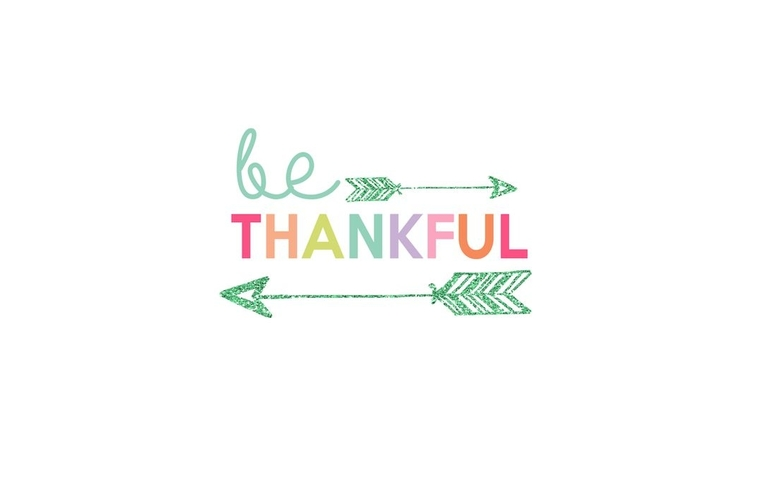 colorful quote be thankful with arrows