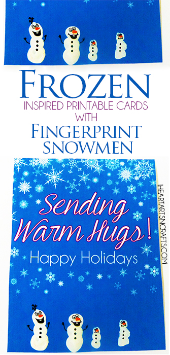 Frozen Inspired Holiday Cards With Fingerprint Snowmen I