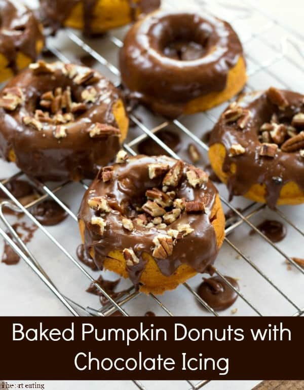 Baked Pumpkin Donuts with Chocolate Icing