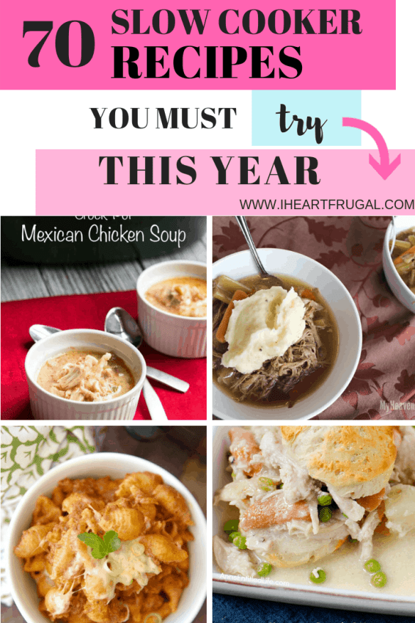 70 Plus Slow Cooker Recipes #slowcooker #crockpotrecipes #slowcookerrecipes #crockpot