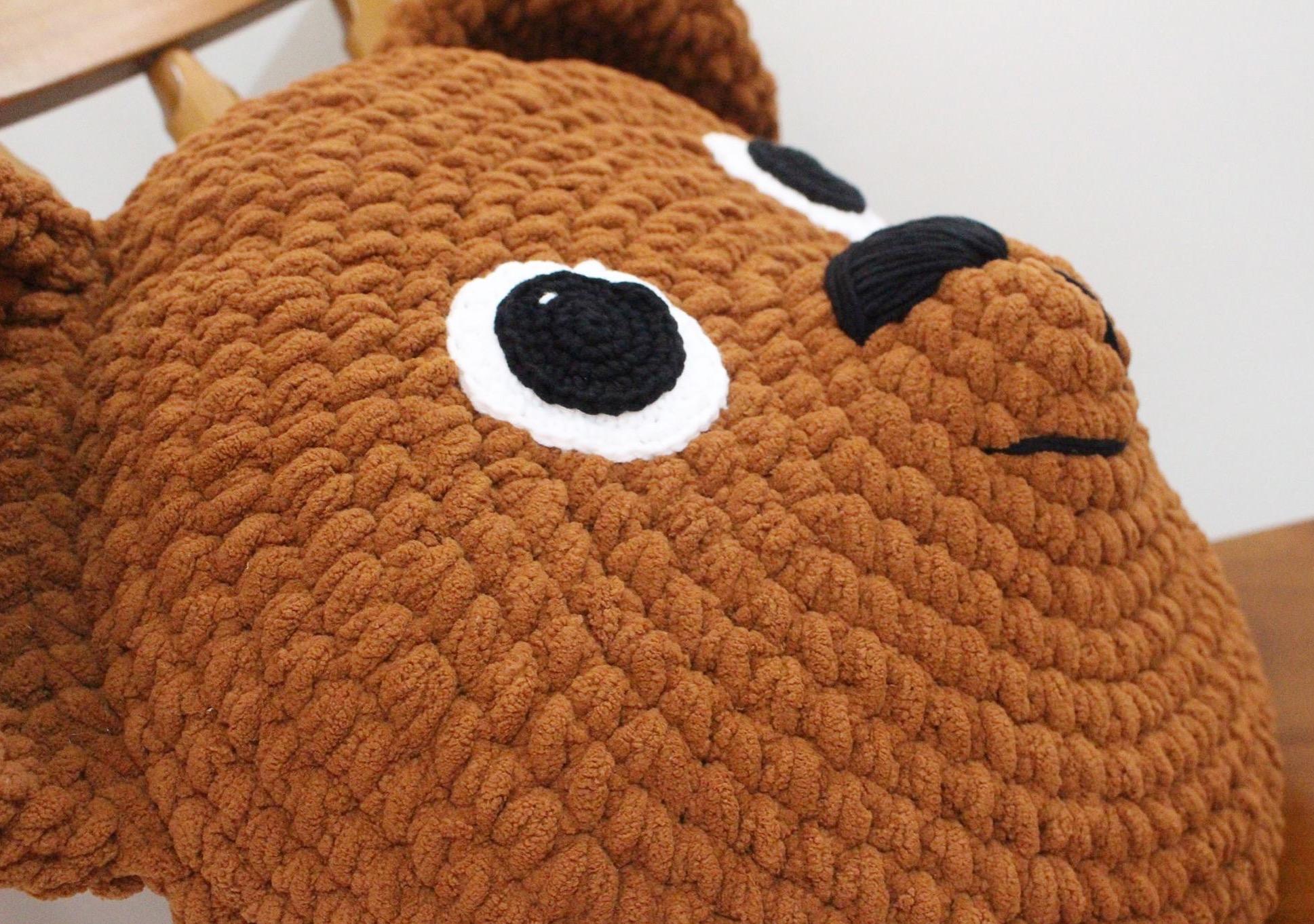 Crochet Teddy Bear Pillow I Heart Gantsilyo
