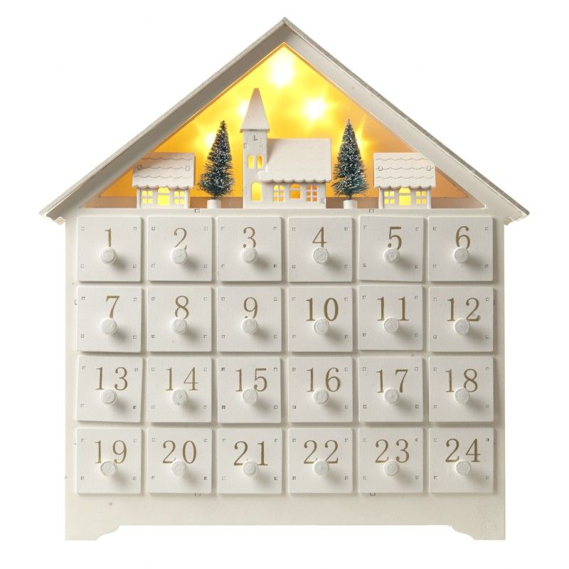 Wooden Xmas Scene Advent With Led Lights Slight Second