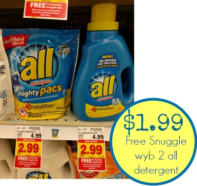 nice price on all laundry detergent and snuggle fabric softener at