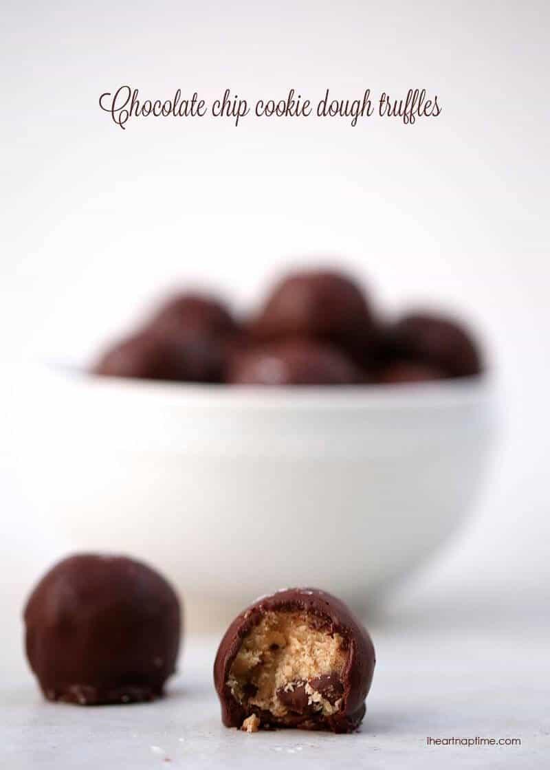 No-bake chocolate chip cookie dough truffles made with no eggs. Love these! #dessert #recipes