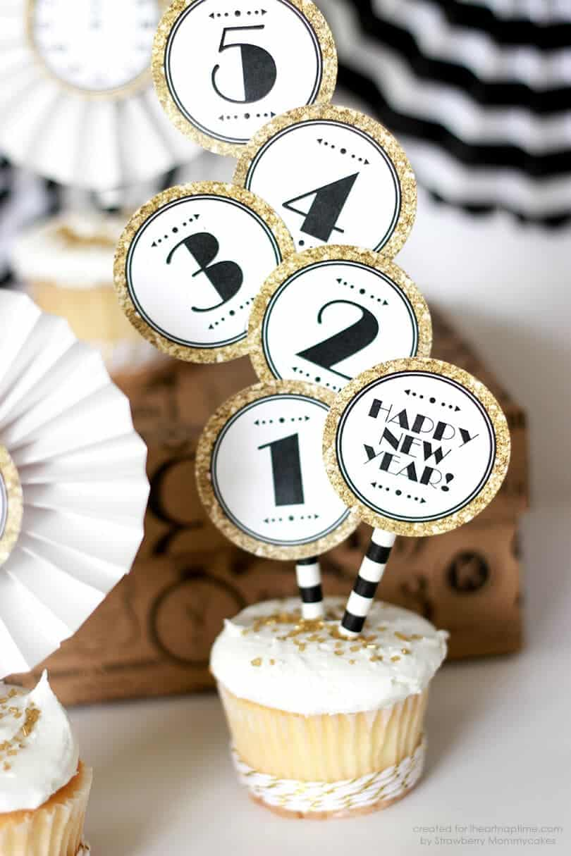 gold new year printable