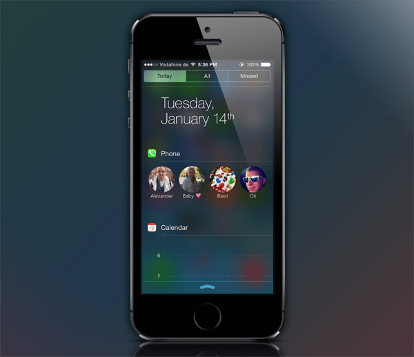 How to add favorite contacts in iOS 7 Notification Center