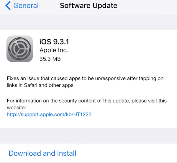 Apple releases iOS 9.3.1 to solve the universal linking bug