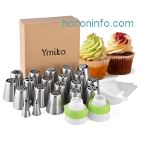 ihocon: Ymiko Russian Nozzles Piping Tips with 20 Disposable Piping Bags+ 2 Colour Coupler Cake Decorating Set 蛋糕裝飾擠花工具組
