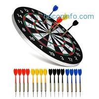 ihocon: NKTM Dart Board Double-sided Dartboard with 16 Darts(18 inches)雙面飛標板