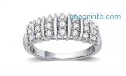 ihocon: 1/2 CTTW Genuine Diamond Fashion Band in Sterling Silver By DeCarat純銀鑽戒