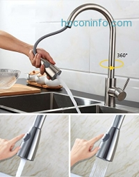 ihocon: UBETT Stainless Steel Kitchen Faucet with Pull Down Sprayer廚房水龍頭