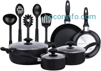 ihocon: Utopia Kitchen 13 Pieces Heavy Duty Cookware Set - Black, Highly Durable, Even Heat Distribution, Double Nonstick Coating - Multipurpose Use for Home, Kitchen or Restaurant - by Utopia Kitchen