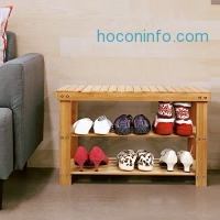 ihocon: Homfa 100% Natural Bamboo Shoe Bench 雙層竹製鞋架椅