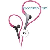 ihocon: Sony MDR-AS400EX Active Series Sport Headphones (Pink, 2-Pack)
