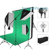 ihocon: CRAPHY 5500k Photography Continuous Softbox Lighting Kit for Portrait Photography, Studio and Video Shooting (Light Stand, E27 Light Holder, 45w Lamp, White/Back/Green Backdrops, Portable Bag)攝影棚燈組