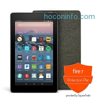 ihocon: Fire 7 Protection Bundle with Fire 7 Tablet (8 GB, Black), Amazon Cover (Charcoal Black) and Protection Plan (2-Year)