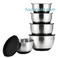 ihocon: X-Chef Stainless Steel Mixing Bowls Set With 5 Lids, Measurement Marks, Non-Slip, Durable(Set of 5)
