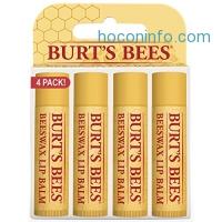 ihocon: Burt's Bees 100% Natural Moisturizing Lip Balm, Beeswax, 4 Tubes in Blister Box