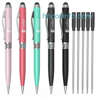 ihocon: F-color 2 in 1 Stylus Pen, 5 Pack with Extra 5 Refills