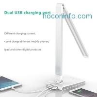 ihocon: Aptoyu LED 光線微調護眼桌燈+雙USB插孔 Dimmable Desk Lamp + Dual USB Charging Port