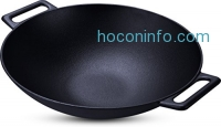 ihocon: Utopia Kitchen Cast Iron Shallow Concave Wok 鑄鐵炒鍋