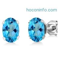 ihocon: 純銀2.00 Ct Oval 7x5mm American Blue Mystic Topaz 925 Sterling Silver Stud Earrings