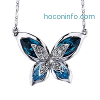 ihocon: SIVERY Butterfly Women Pendant Necklace, Made with Swarovski Crystals水晶項鍊