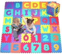 ihocon: Click N' Play, Alphabet and Numbers Foam Puzzle Play Mat, 36 Tiles (Each Tile Measures 12 X 12 Inch for a Total Coverage of 36 Square Feet)