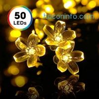 ihocon: Solar String Lights, DecorNova 20 Feet 50 LED Crystal Flower String Lights with Waterproof Solar Panel for Outdoor Garden Patio Yard Christmas, Warm White
