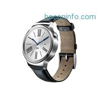 ihocon: Huawei Watch 皮帶智能手表 Stainless Steel with Black Suture Leather Strap (U.S. Warranty)