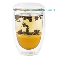 ihocon: Tea Infuser Cup With Double Wall Glass, 10 oz 雙層玻璃茶杯含蓋子