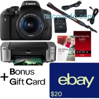 ihocon: Canon EOS Rebel T6i DSLR + 18-55mm + Printer + $350 Rebate + $20 Ebay Gift Card