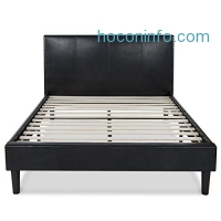 ihocon: Zinus Deluxe Faux Leather Upholstered Platform Bed with Wooden Slats, Full