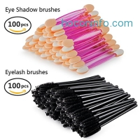 ihocon: 100 PCS Dual Sided Eye shadow Brush Sponge +100 PCS Eyelash Mascara Applicator