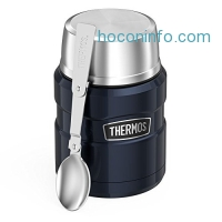 ihocon: Thermos 膳魔師不銹鋼保温便當 Stainless King 16 Ounce Food Jar with Folding Spoon