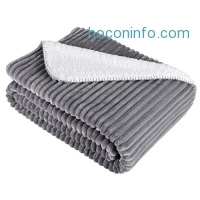 "ihocon: LANGRIA Soft Ribbed Flannel Blanket(50"" x 60"", Grey)柔軟保暖蓋毯"