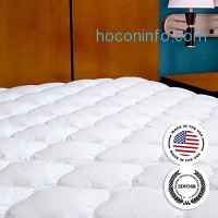 ihocon: Mattress Pad with Fitted Skirt - Extra Plush Mattress Topper Found in Five Star Hotels, Queen