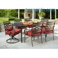 ihocon: Hampton Bay Middletown 7-Piece Patio Dining Set with Chili Cushions