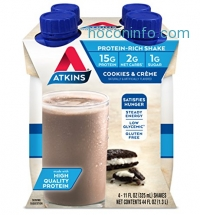 ihocon: Atkins Ready To Drink Shake, Cookies and Creme, 15g Protein, 2g Net Carbs, 1g Sugar, 11 Ounce, 4 Count (Packaging May Vary)